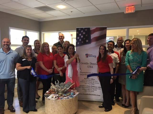 The team from Beaches Gentle Dentists and representatives from the Beaches Division of the JAX Chamber gather on May 2 for a ribbon-cutting ceremony to celebrate the business' new membership with the Chamber.