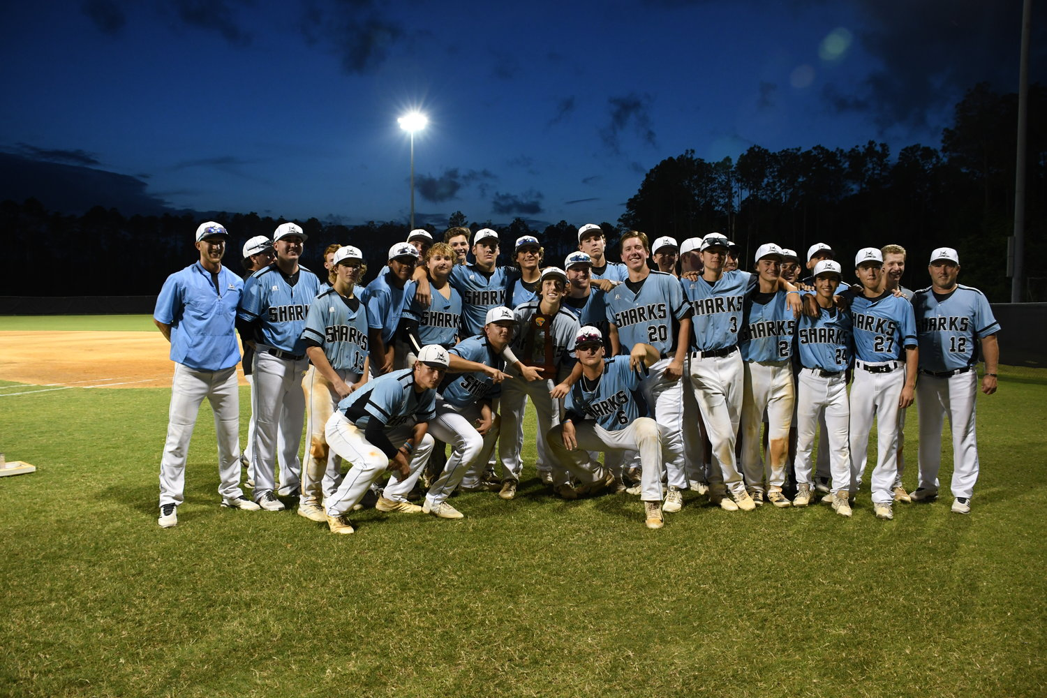 The Ponte Vedra baseball team gathers after winning the District 6A title on Thursday, May 9.