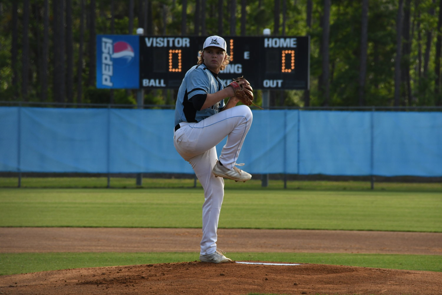 Ponte Vedra Pitcher Brody Maynard attempts a pitch for the Sharks against Ridgeview on Thursday, May 9. Maynard shut out Ridgeview while allowing the visitors just one hit.