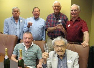 The Fleet Landing Investment Club gathers in celebration of beating the S&P 500 average in 2018. Pictured are: Ron Jacobstein (front row), Bob Dinda, Tom Steinke (back row), Walt Trevaskis, Howard Burdick and Joe Ruthenberg.