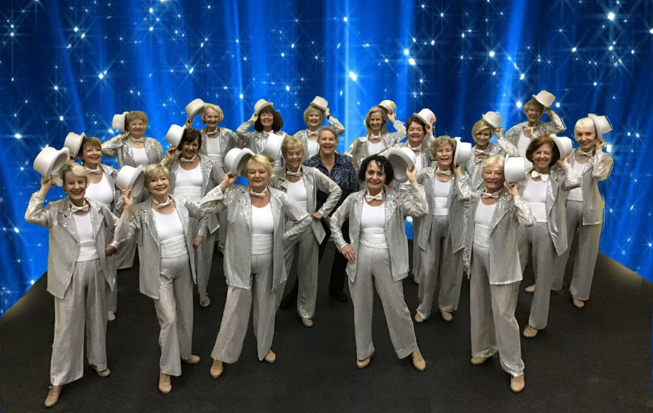 "The Sassy Tappers from the Neptune Beach Senior Activity Center gather during their recent production of ""Broadway Moments."""