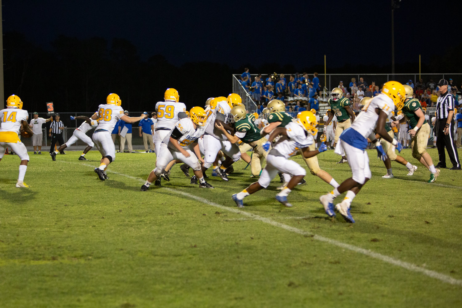The Nease defense attempts a stop against Palatka.