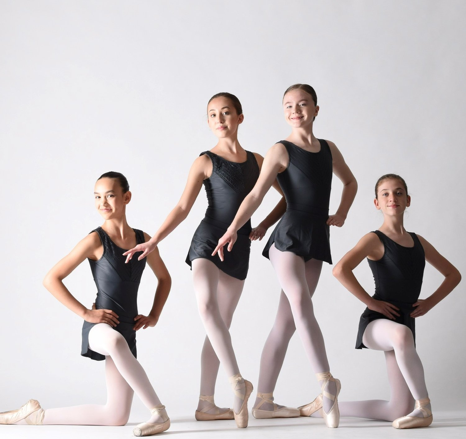 Several Ponte Vedra Ballet & Dance Company students will attend prestigious summer dance intensives. Pictured from left to right are Emily Shende (Bolshoi), Alexandra Willis (Miami City Ballet), Margaret Ivantsov (Joffrey Ballet) and Avery Mangan (The Rock School).