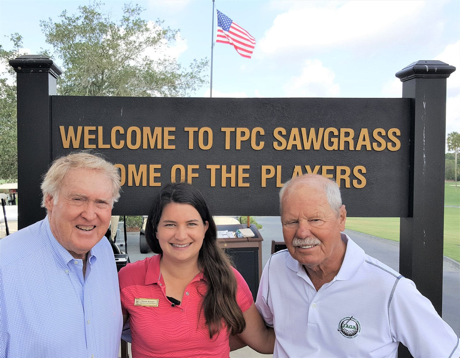 Level 2 PGA assistant professional and JAGA Scholarship recipient Nicole Keyser of TPC Sawgrass; JAGA Director Duke Butler III, TPC Sawgrass and JAGA Director, Deerwood CC; and Scholarship Trust Chairman, Ken Hicks (right)