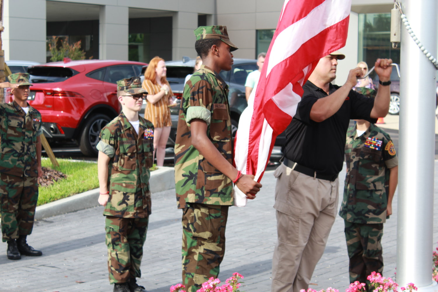 A flag raising ceremony was presented by the Young Marines of Jacksonville.