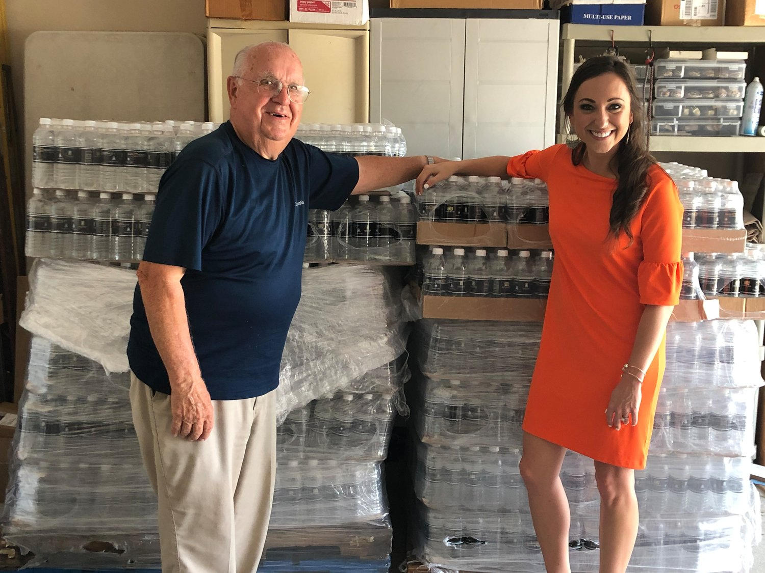 "Kelly Ray, Director of Marketing for Nocatee, with George ""Water Guy"" Ray."