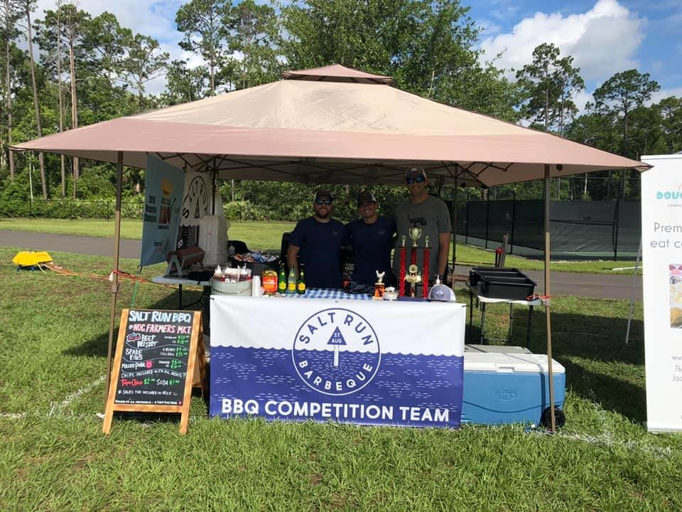 Salt Run BBQ set up at the June 19 Nocatee Farmers Market and served brisket, pulled pork, spareribs, chips, and topo chico.