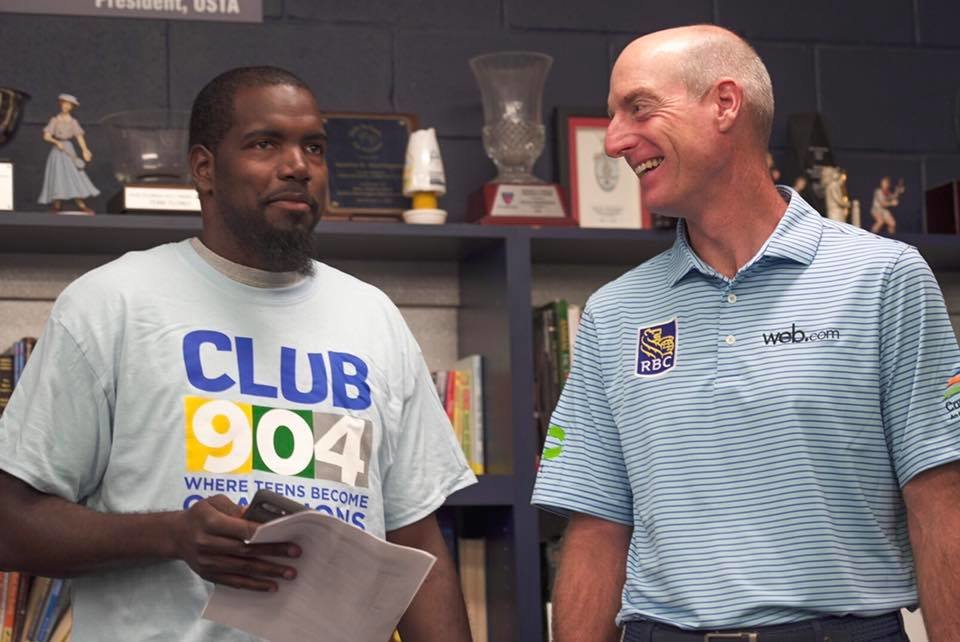 PGA Tour pro, Jim Furyk, talks with Marc about the new teen center planned for Durkeeville.