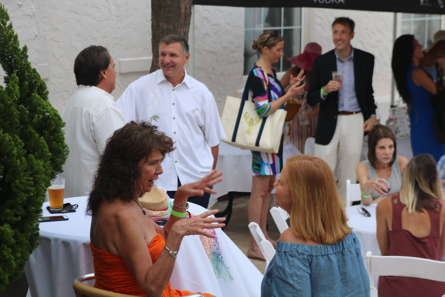 Guests mingled and chatted amongst themselves in the Casa Marina courtyard.