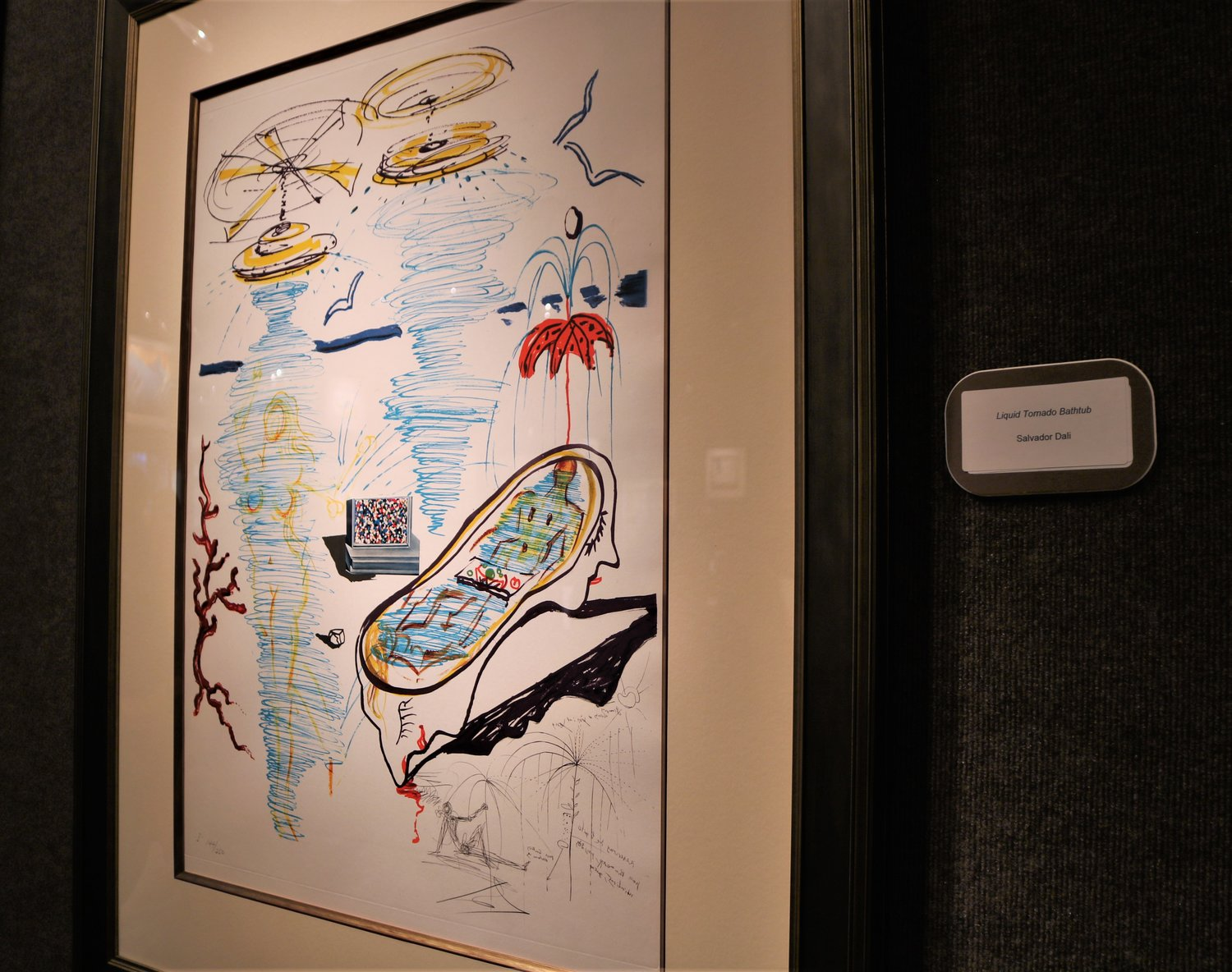 "Salvador Dali's exhibit featured five sketches of his series, ""Imagination of Objects of the Future,"" depicting new inventions and concepts that he predicted could be invented during his time."
