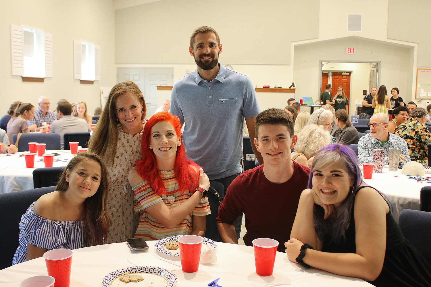 From left, Reagan Bushman, Meg James, Kacey Bushman, Logan James, KJ Bushman and Riley Bushman attended the Night of Celebration Aug. 9 to support The Greatest Exchange.