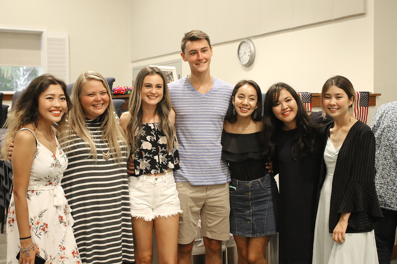 Danny White, center, poses with seven of the young women who participated in this summer's Greatest Exchange.