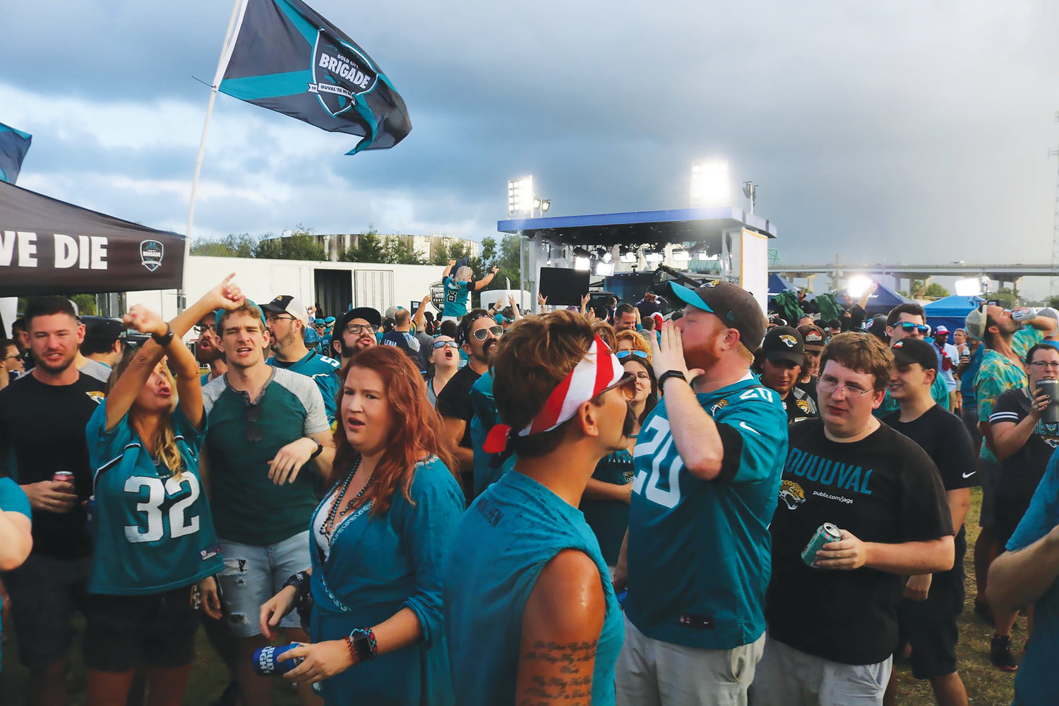 The NFL Network visited Jacksonville Jaguars fan groups, Teal Street Hooligans and Bold City Brigade, at 'The Slab,' Sept. 19, for the Thursday night Jaguars game against the Tennessee Titans, resulting in a 20-7 victory.
