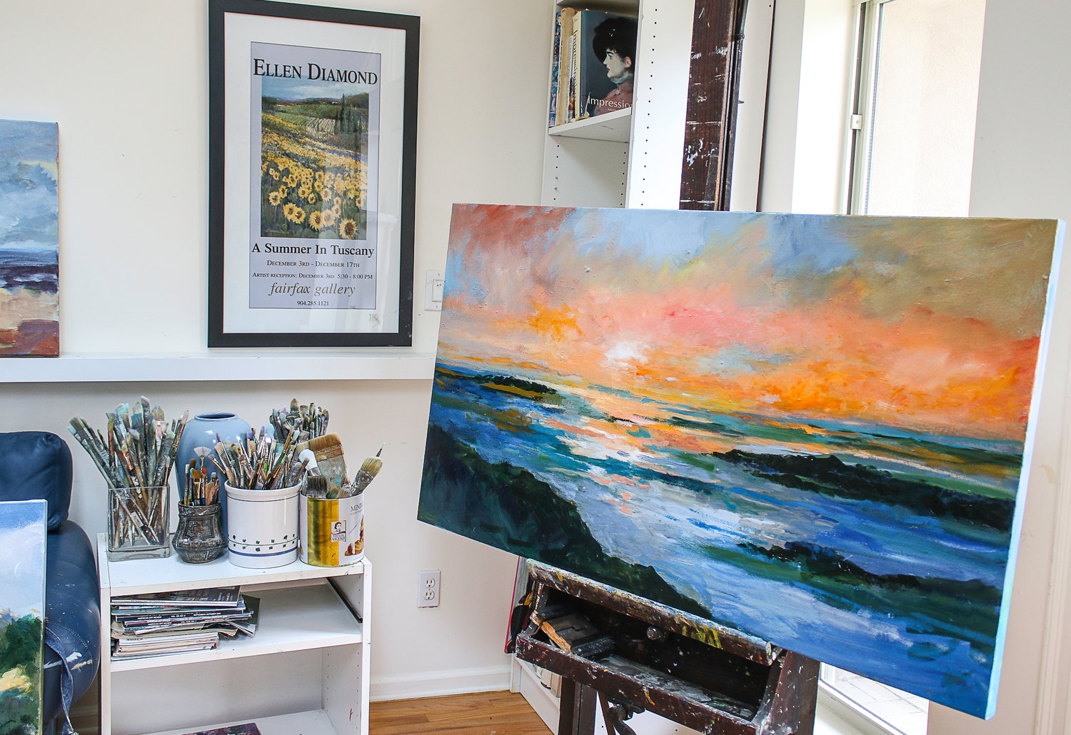 Natural light floods her upstairs Sawgrass studio that is filled with works in various stages of completion.