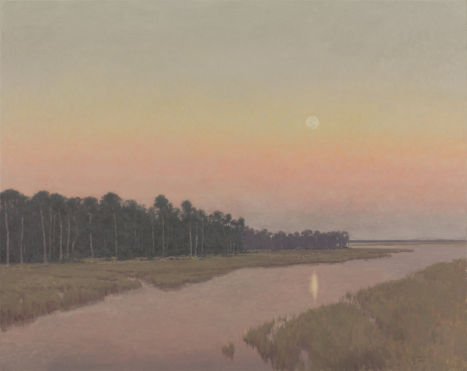 """Moonrise on the Marsh"" by Matthew Cutter. Oil on linen, 48x60."