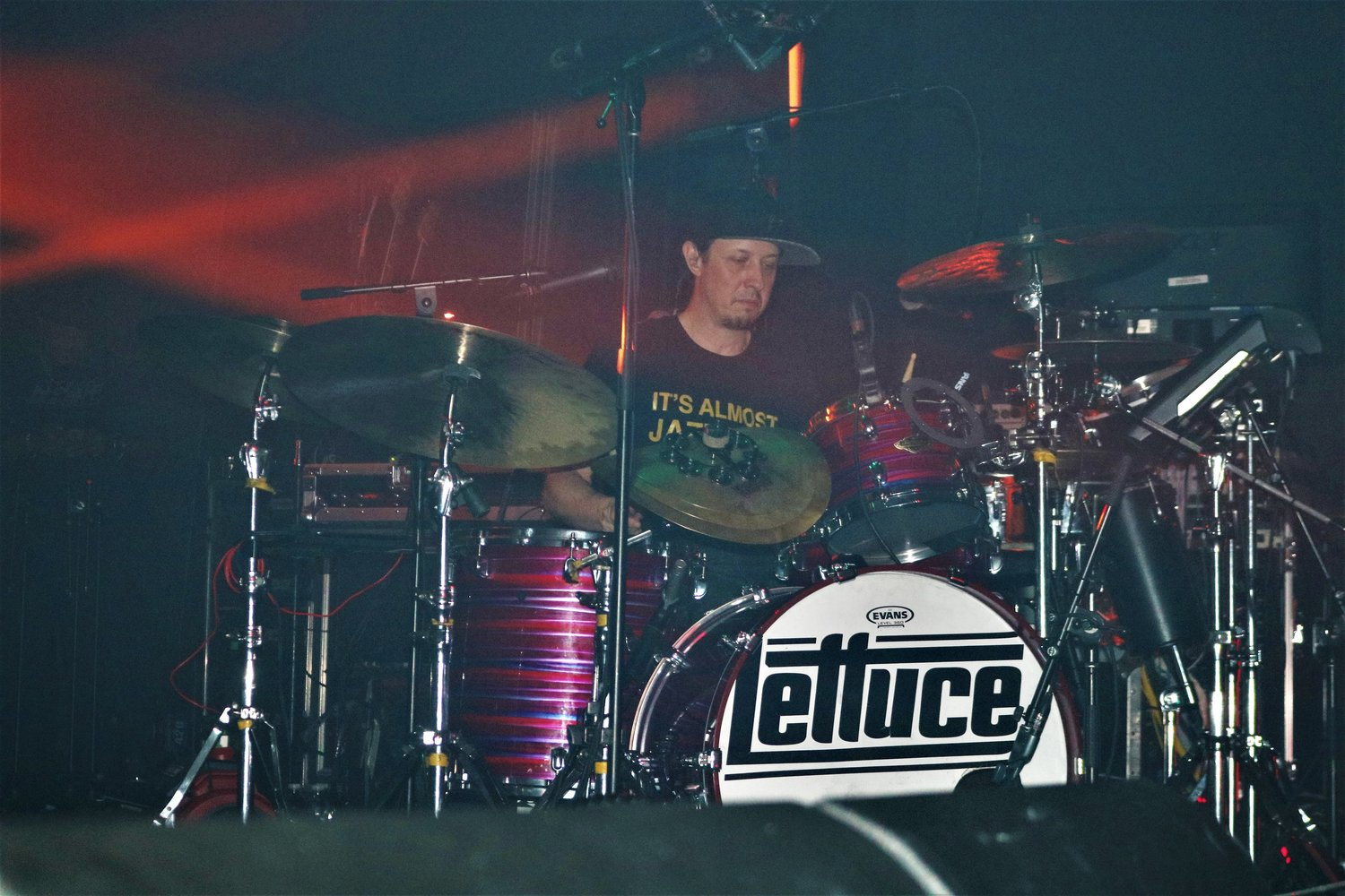 LETTUCE drummer, Adam Deitch, performs an elaborate drum solo during the set.