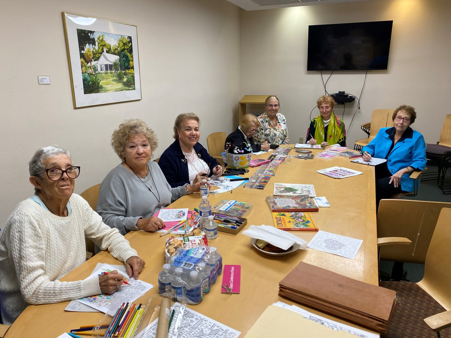 Members of the Adult Coloring Club at the Ponte Vedra Beach Branch Library meet Thursday, Feb. 20 in the library's Glass Room.