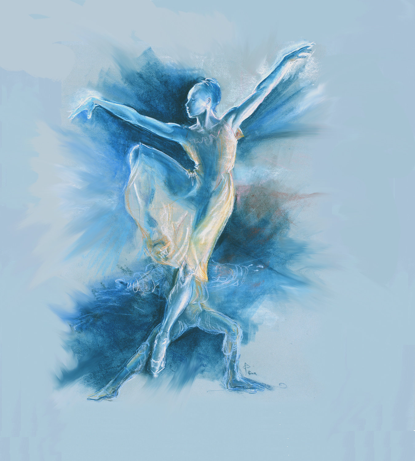 """Blue Dancers"" is one of Stephanie Pyren's works on display at the library."