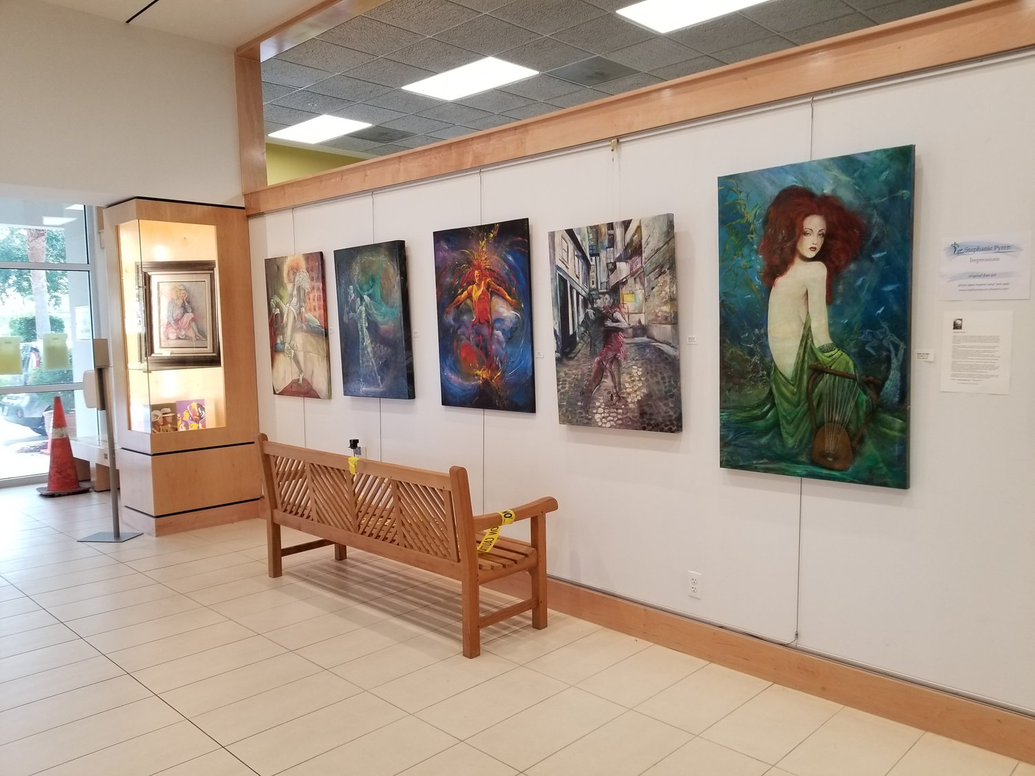The entrance to the Ponte Vedra Public Library boasts vibrant artwork by artists Stephanie Pyren.