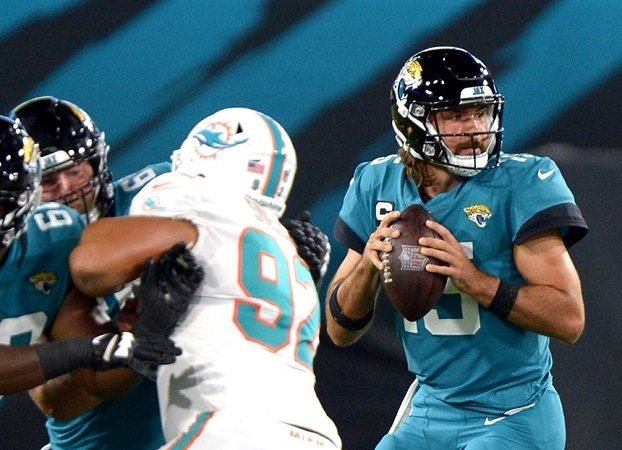 Jaguars QB Gardner Minshew looks for a receiver during last Sunday's game against Miami.