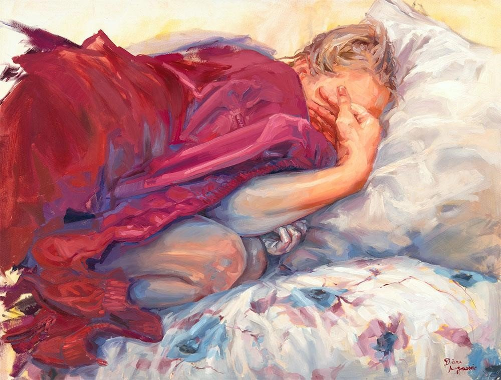 """Sleeping"" by Diana Augustine ($3,500) - oil on canvas 30x40"