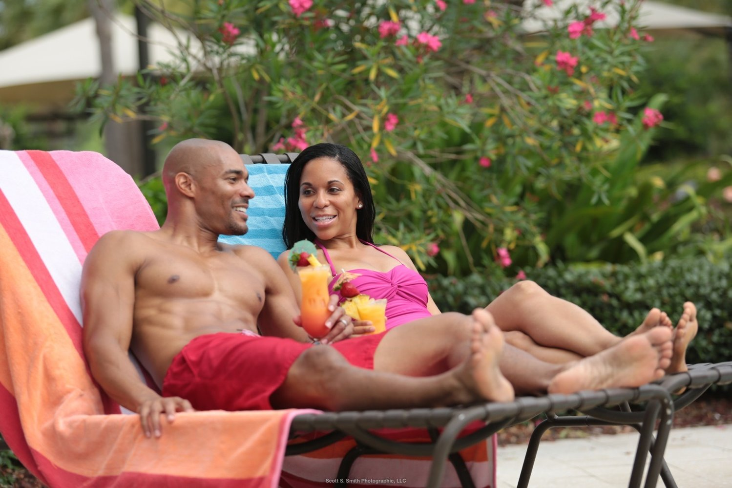Relaxing poolside at Nocatee, residents can escape the cares of the world at large.
