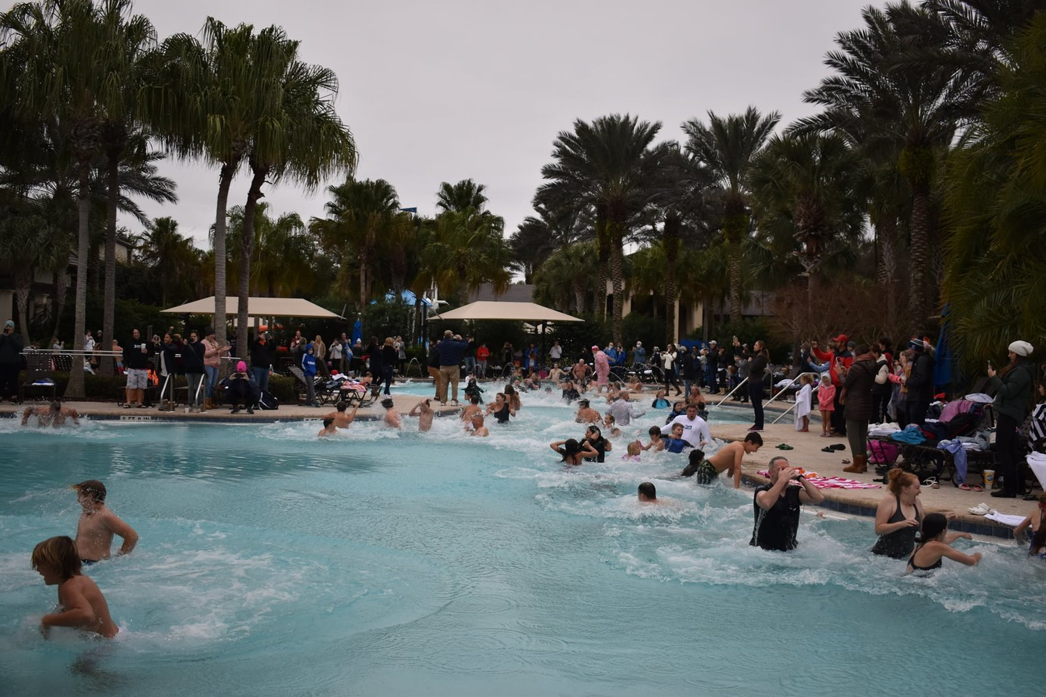 Nocatee residents brave the colder temperatures to participate in the annual Polar Plunge on Sunday, Jan. 9, at the Splash Waterpark.