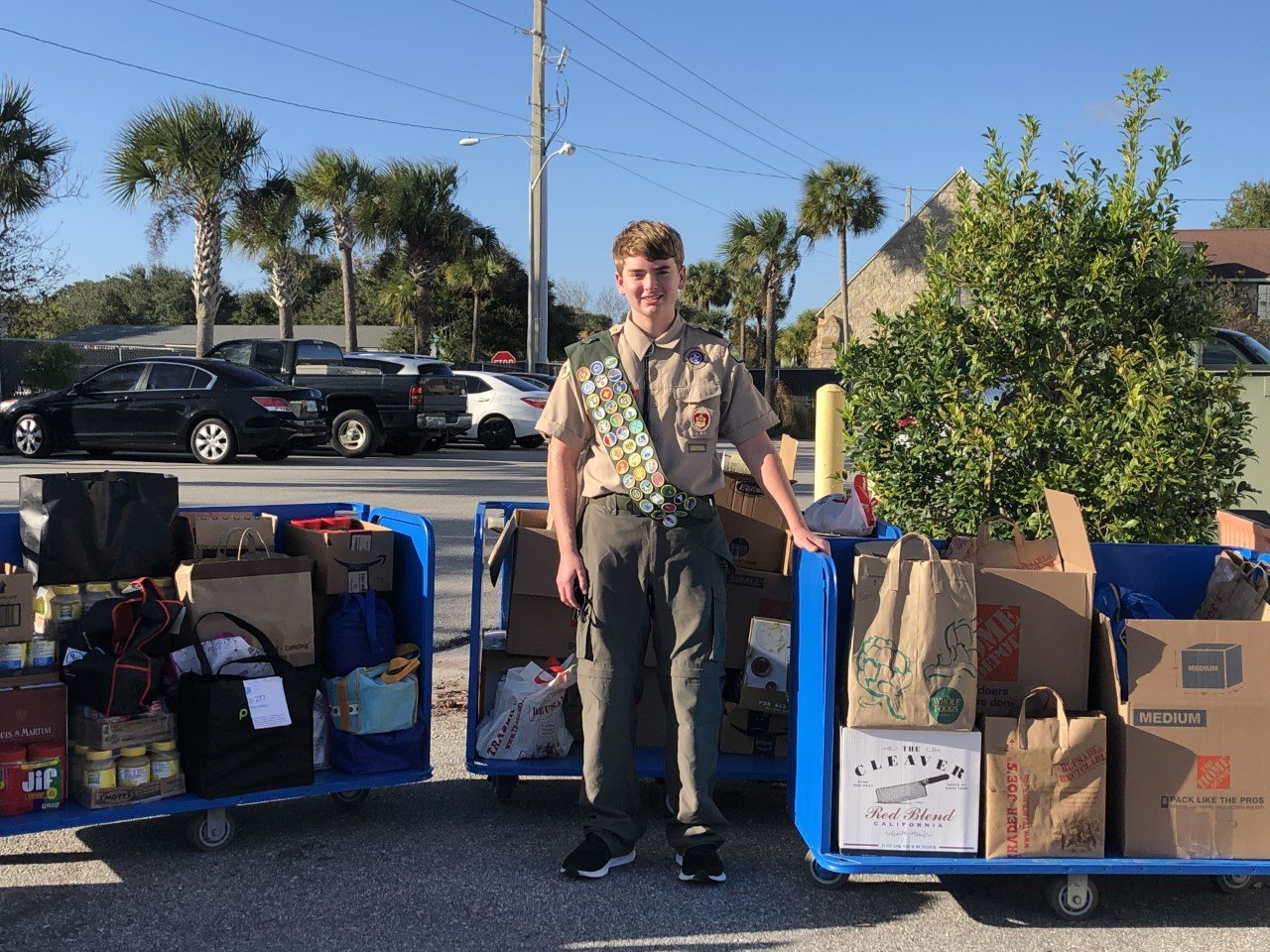 With the help of neighbors and friends, Eagle Scout Ben Black collected 920 pounds of food and toiletry items to donate to BEAM in addition to refurbishing 17 food bank carts.