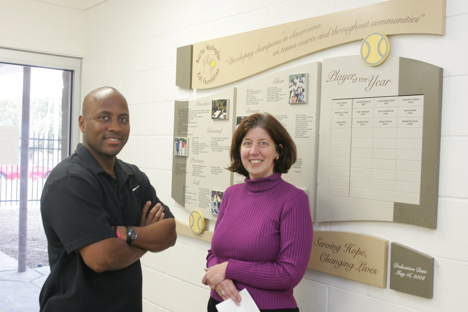 MWYF founder Mal Washington and Executive Director Terri Florio at the new Youth Center in 2008.