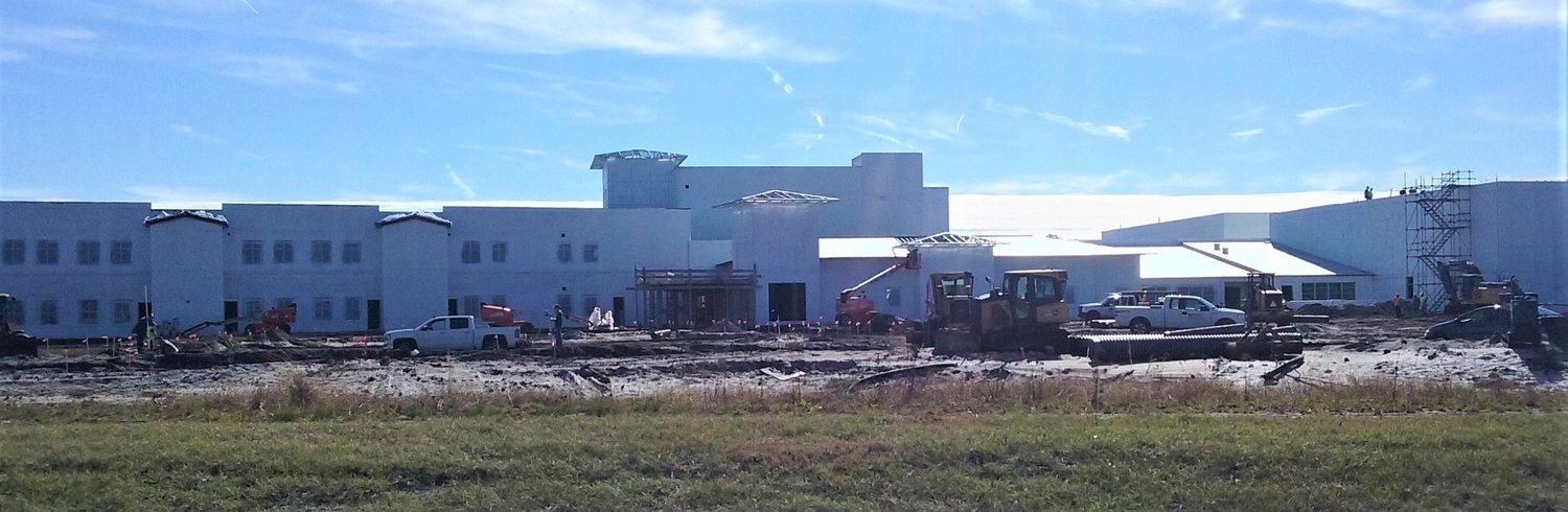 Pine Island Academy is seen under construction.