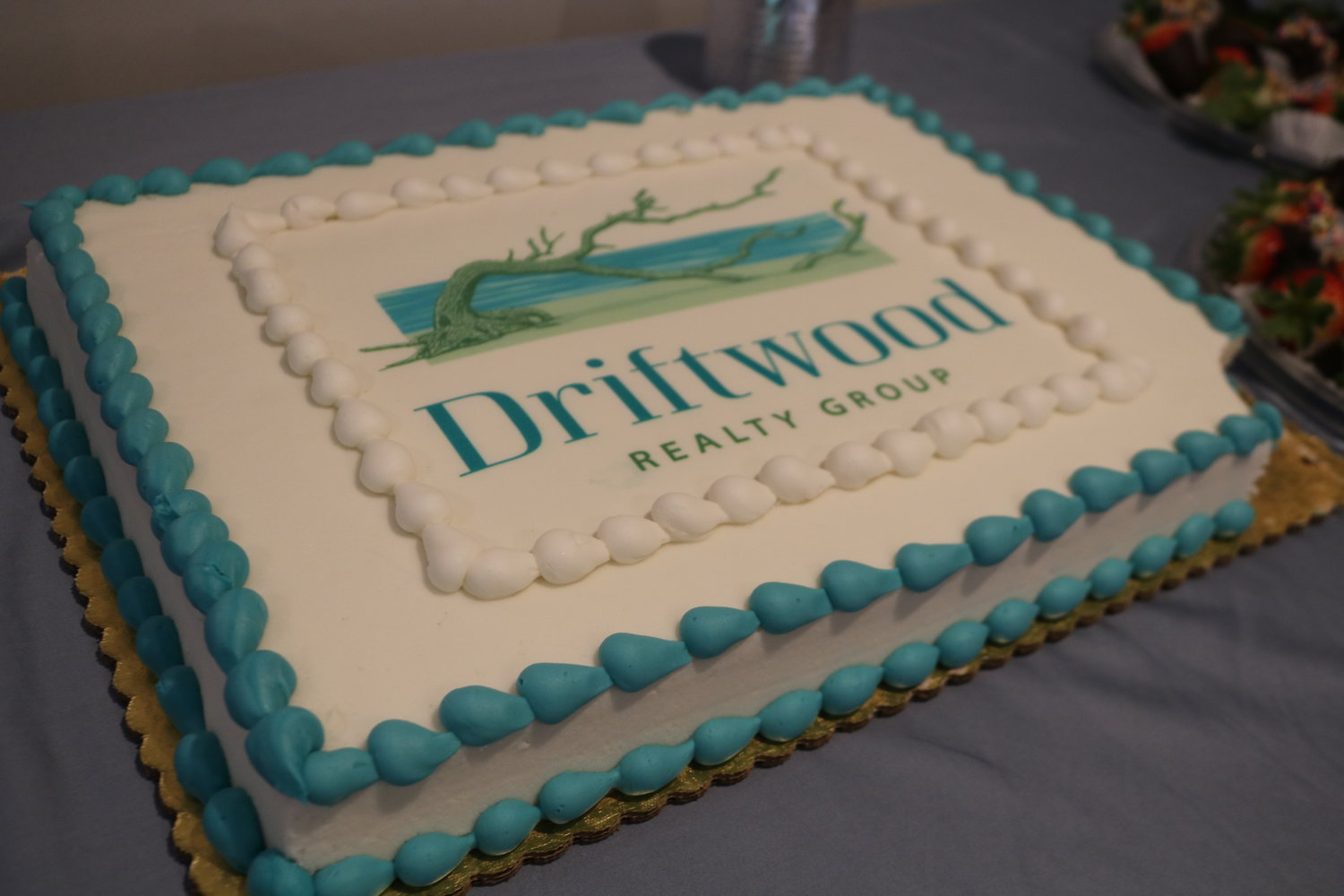 A decorated cake was part of the celebration for the launch of Driftwood Realty Group.