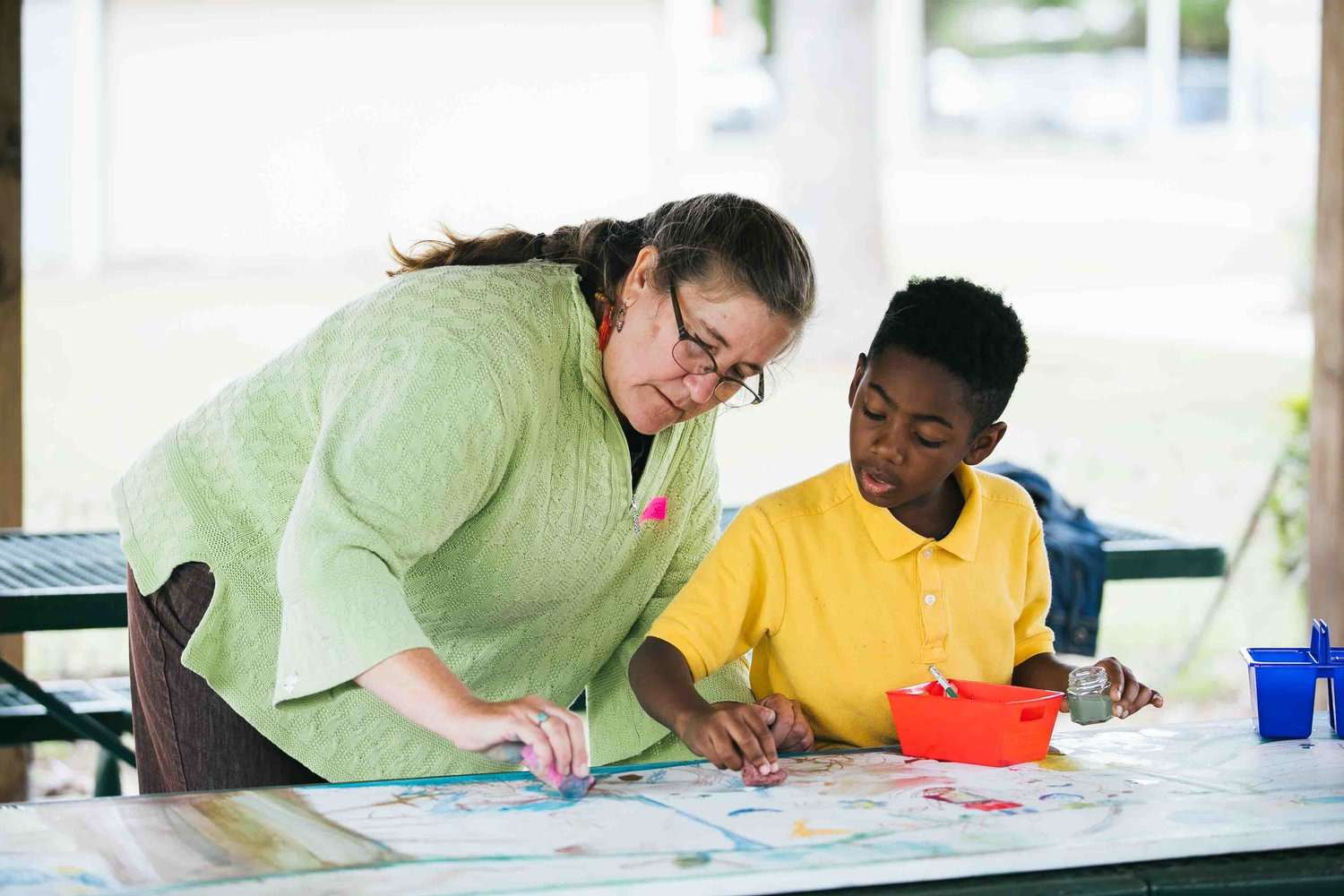 A student receives visual arts instruction at a Duval County school.