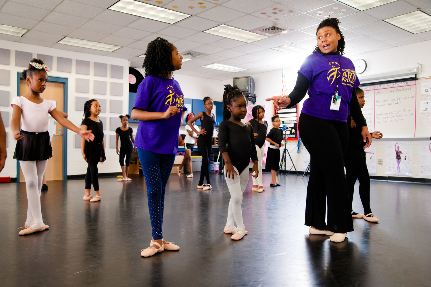 Students learn dance at Brentwood Elementary.