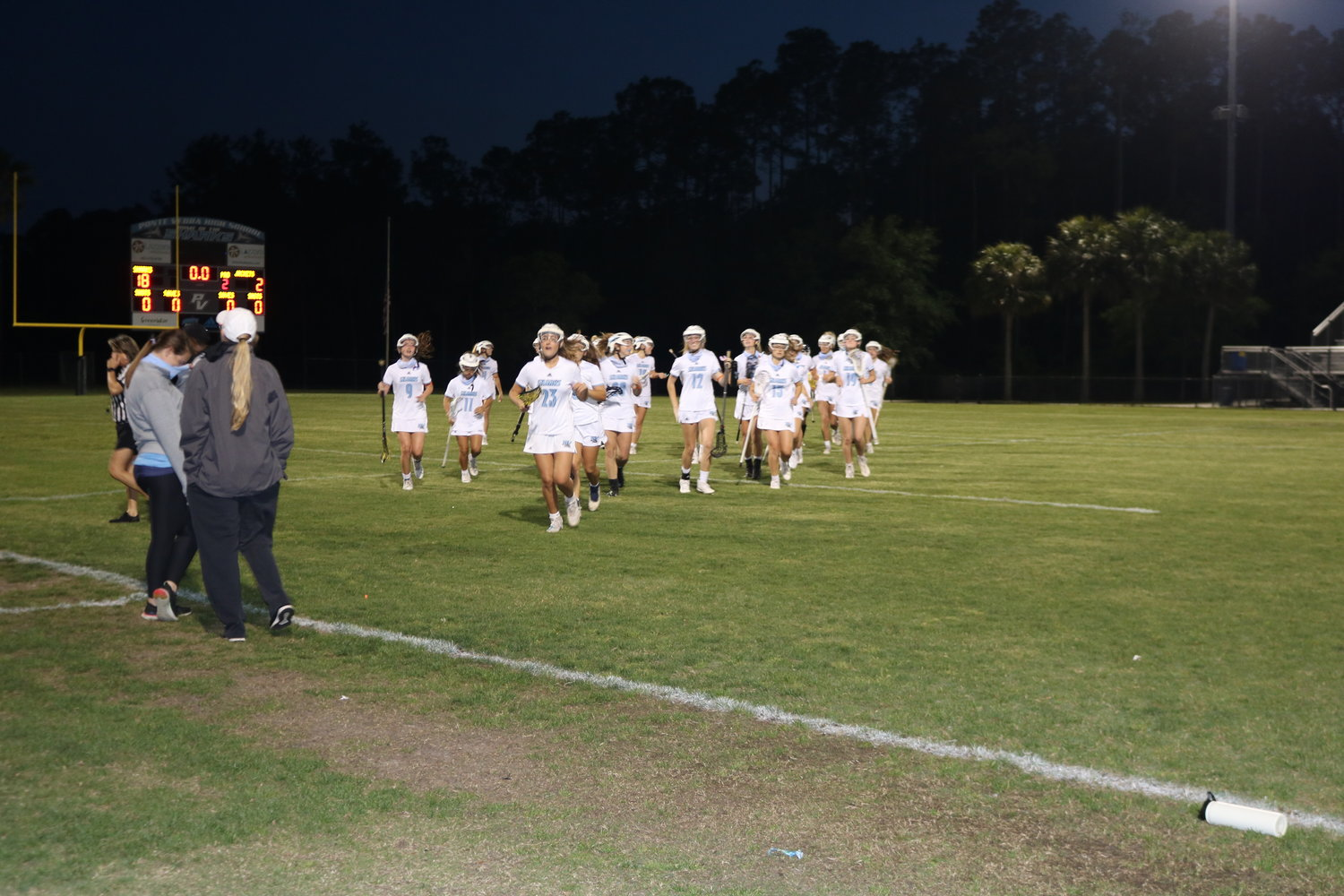 The Ponte Vedra High School girls lacrosse team runs off the field after defeating St. Augustine 18-2 in the regional semifinals last Thursday. The Lady Sharks will play Gulf Breeze in the regional final Thursday, April 29.