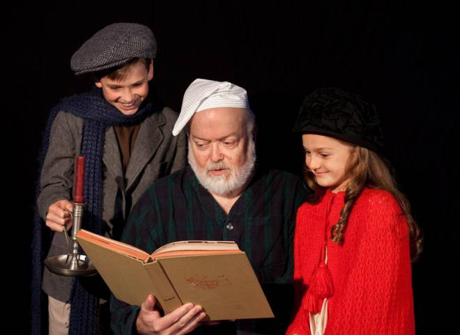 "(From left to right) Matthew Thompson, Terry Simpson, Elisabeth Thompson in the Contemporary Theater Company's ""Mrs. Bob Cratchit's Wild Christmas Binge"""
