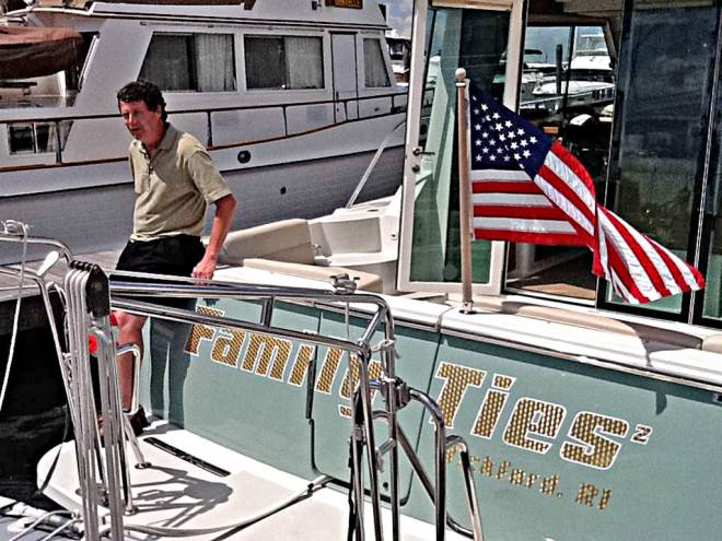 Bob Preston on his boat, Family Ties II