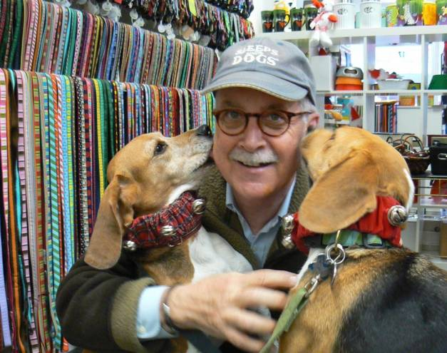 Owner Robin Bugbee with his dogs Plaid and Stripe