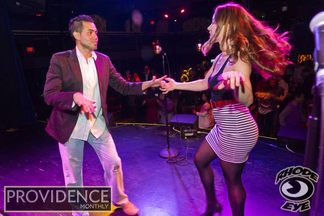 Salsalegre instructors Martin Rivera and Sydonee Harris gave party-goers a free salsa lesson
