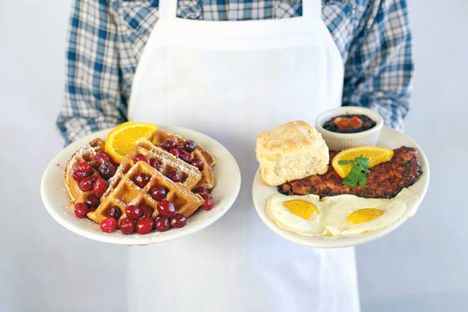 Waffles and Corned Beef Hash at the Bluebird Cafe in Wakefield