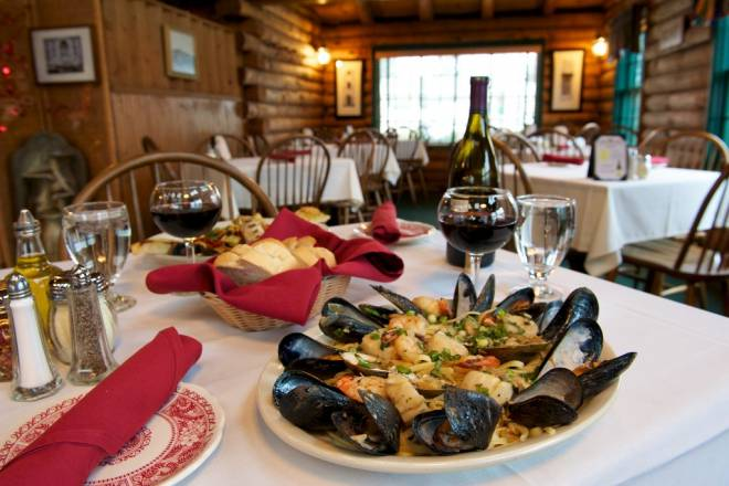 Catarina's Italian Village is housed in a rustic log cabin on Boston Neck Road in Narragansett