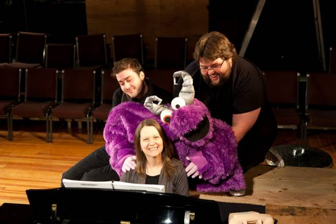 Avenue Q's musical director Lila Kane with (from left) Johnny Vento, Trekkie Monster and Andrew T Jones