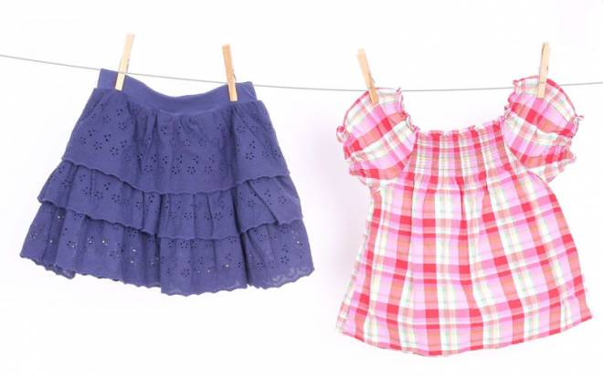 Navy eyelet skirt, $2.99 at Children's Orchard; plaid blouse, $3.99 at Children's Orchard