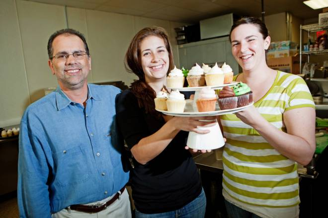 Phil Rich, his daughter Shayna Click and Meaghan Matte of Shayna's Gourmet Cupcakes in Seekonk