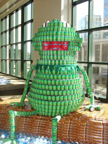 Canstruction competitors made this Kermit the Frog