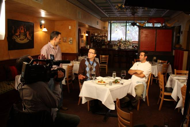 "Chef Nick Rabar (seated, left) sits down with Chez Pascal Chef Matt Gennuso (seated, right) on ""Chef 2 Go"""