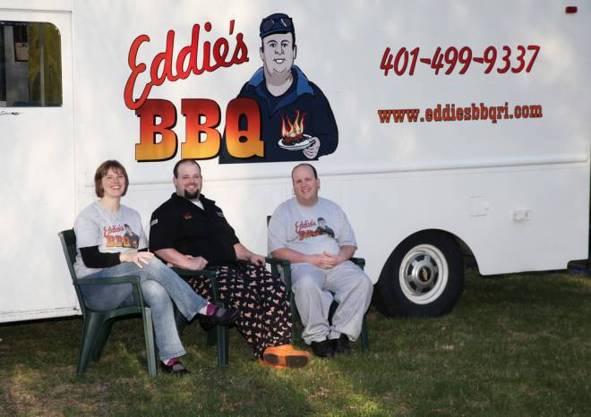 Steve McLaughlin (center) owns Eddie's BBQ Truck.