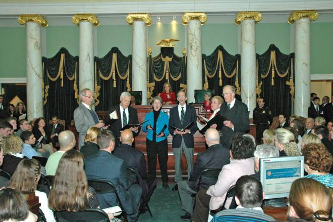 Jamestown Community Chorus sings the National Anthem at opening day of the RI Senate in 2011
