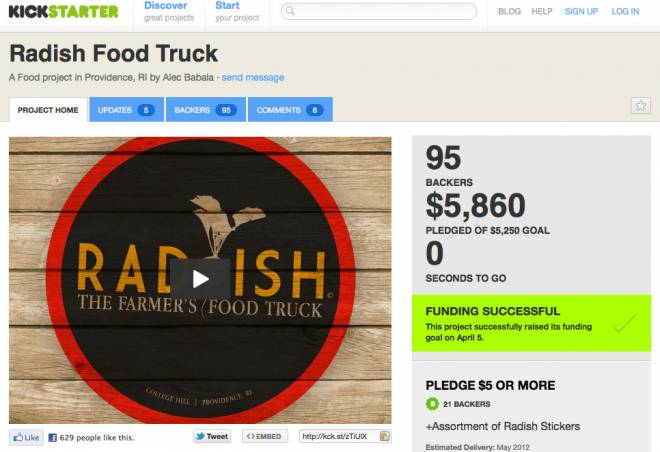 The new Radish food truck was funded by a successful Kickstarter campaign