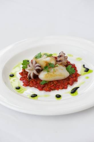 "European Cuttlefish ""a la plancha"" with red pepper and lemon-coriander dressing"