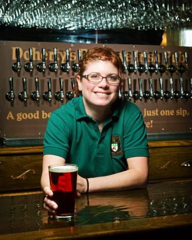 Bartender Courtney Zasada of Doherty's East Avenue Irish Pub.